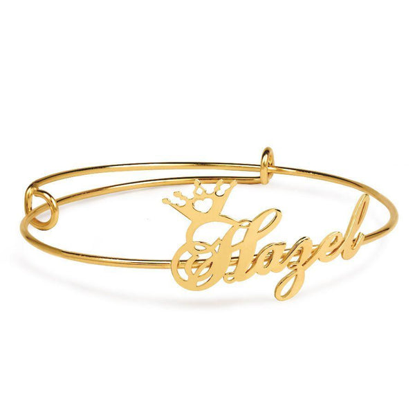 Name Bracelets - Adjustable Name Bangle With Crown