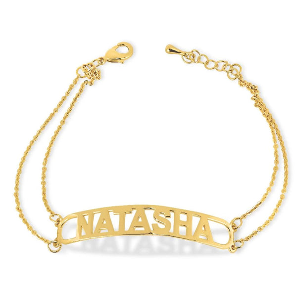 Name Bracelets - Bar Nameplate Bracelet - 14k