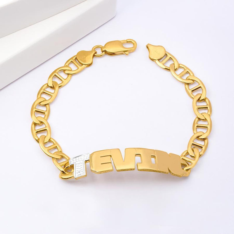 Name Bracelets - Iced Men's Name Bracelet - 14K