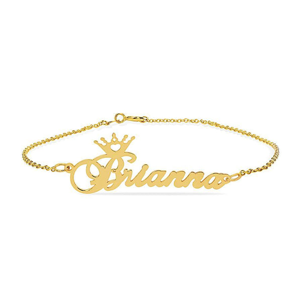 Name Bracelets - Name Anklet With Crown - 14K