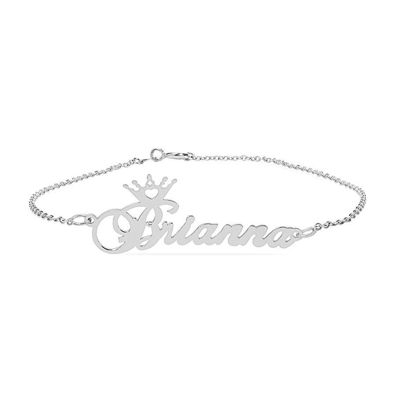 Name Bracelets - Name Anklet With Crown
