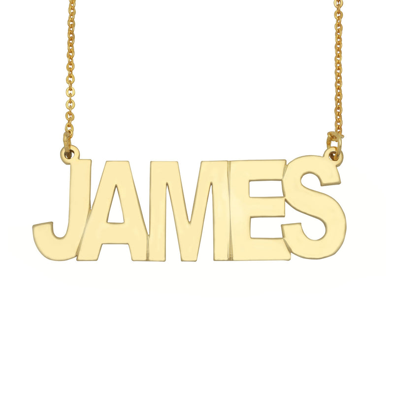 Name Necklace - Block Name Necklace - 14K