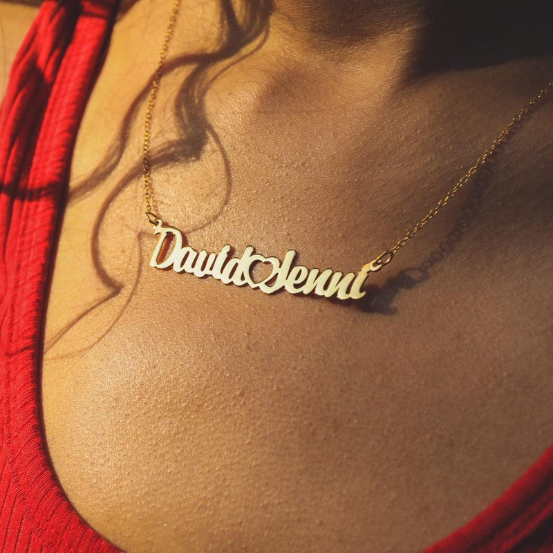14K Couple's Name Necklace