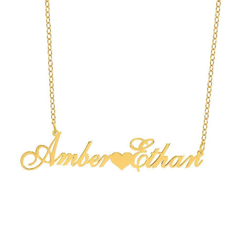 Name Necklace - Couple's Name Necklace With Heart - 14K