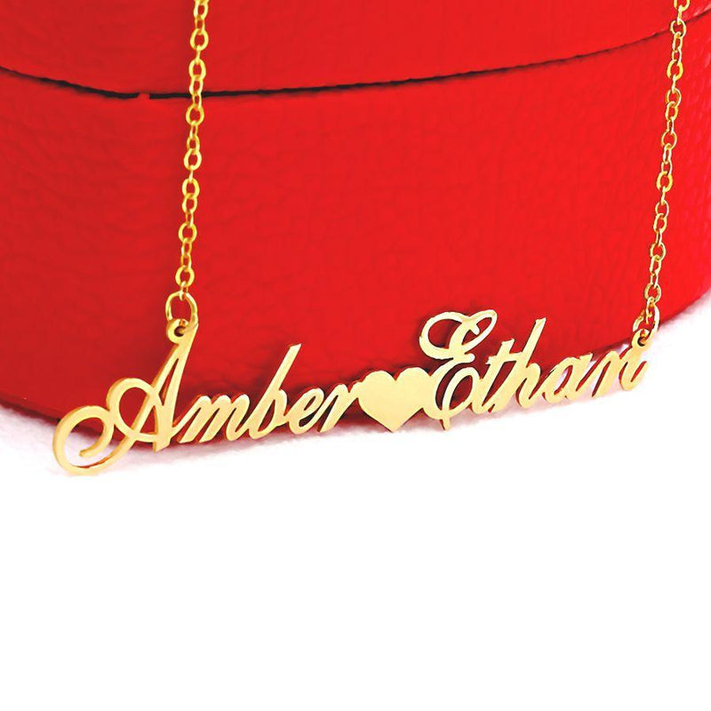 Couple's Name Necklace with Heart