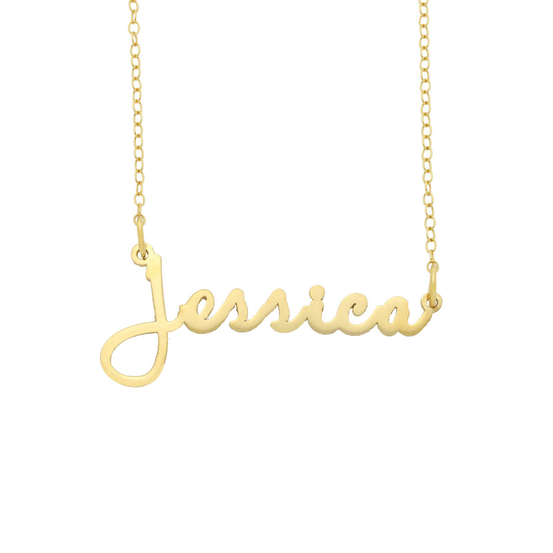 Name Necklace - Dainty Script Name Necklace - 14K
