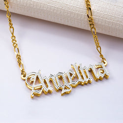 Name Necklace - Double Plated Gothic Name Necklace - 14K