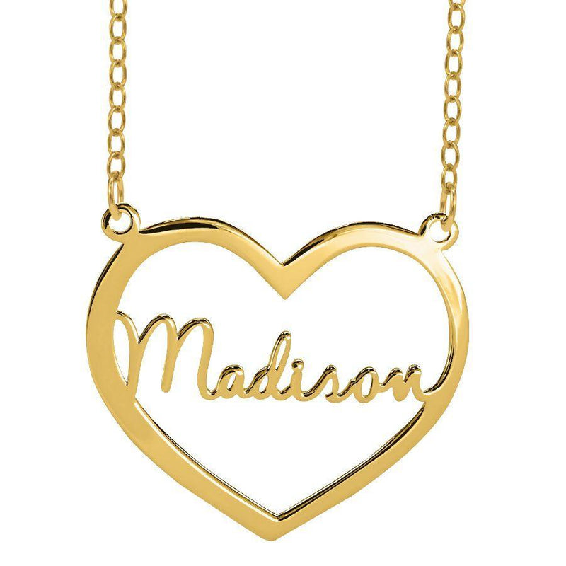 Name Necklace - Heart Nameplate Necklace - 14K