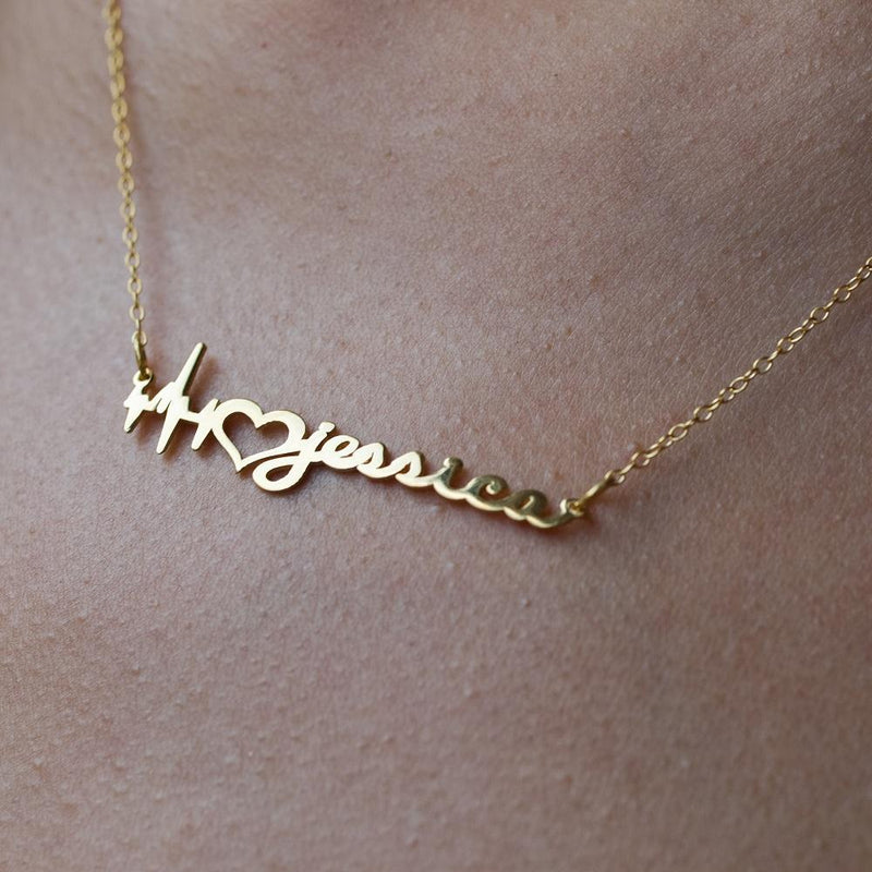 Name Necklace - Heartbeat Name Necklace - 14K
