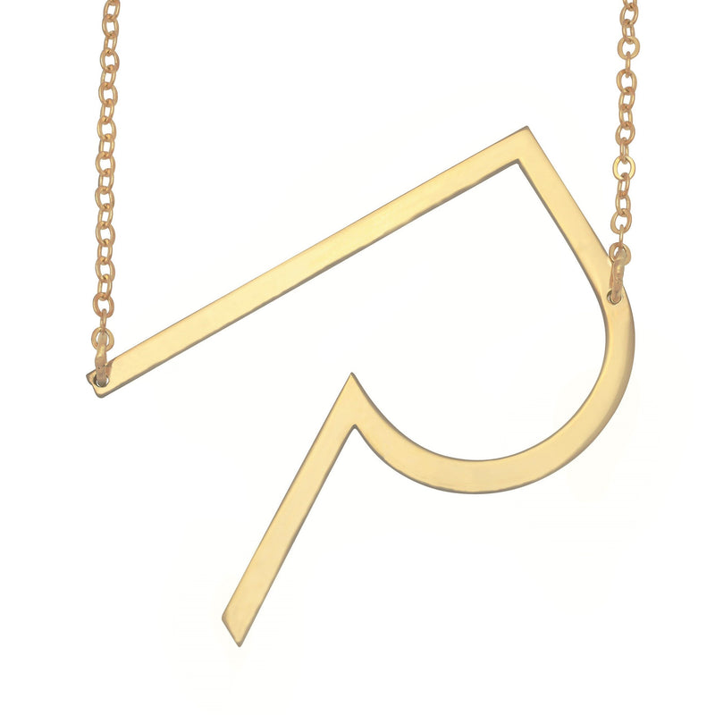 Name Necklace - Large Initial Necklace - 14K