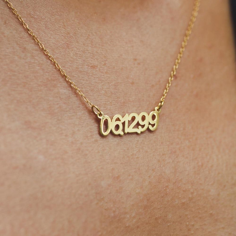 Name Necklace - Special Memory Date Necklace - 14K