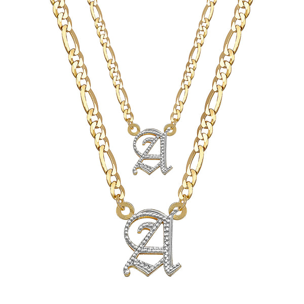 Double Plated Gothic Initial Necklace