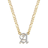 Double Plated Gothic Initial Necklace - 14K