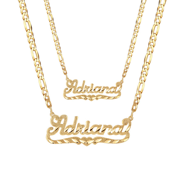 Diamond Cut Name Necklace w/ Figaro Chain