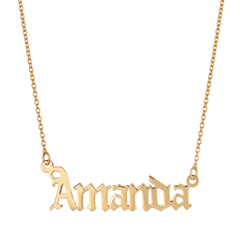 Gothic Name Necklace - 14K