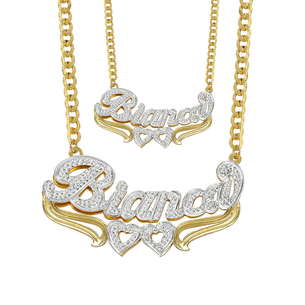 Double Plated Heart Name Necklace w/ Cuban Chain