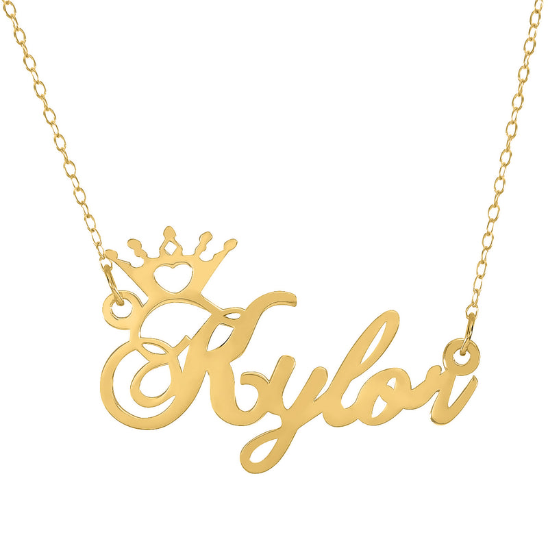 Crown Name Necklace - 14K