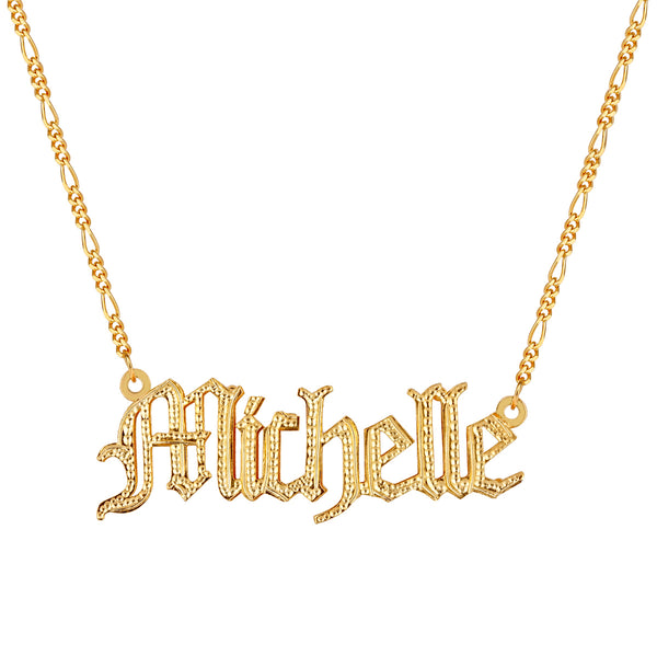 The Golden Double Plated Gothic Name Necklace