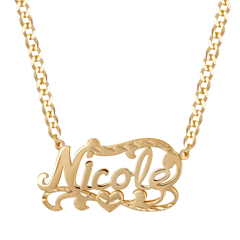 Kids Double Plated Name Necklace w/ Cuban Chain - 14K