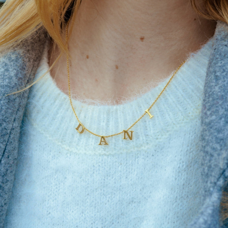 Tiny Spaced Out Name Necklace - 14K