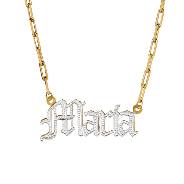 Double Plated Gothic Name Necklace w/ Paper Clip Chain