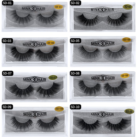 Hand-Made Reusable HD 3D Mink Eyelashes Lashes (1Pair)