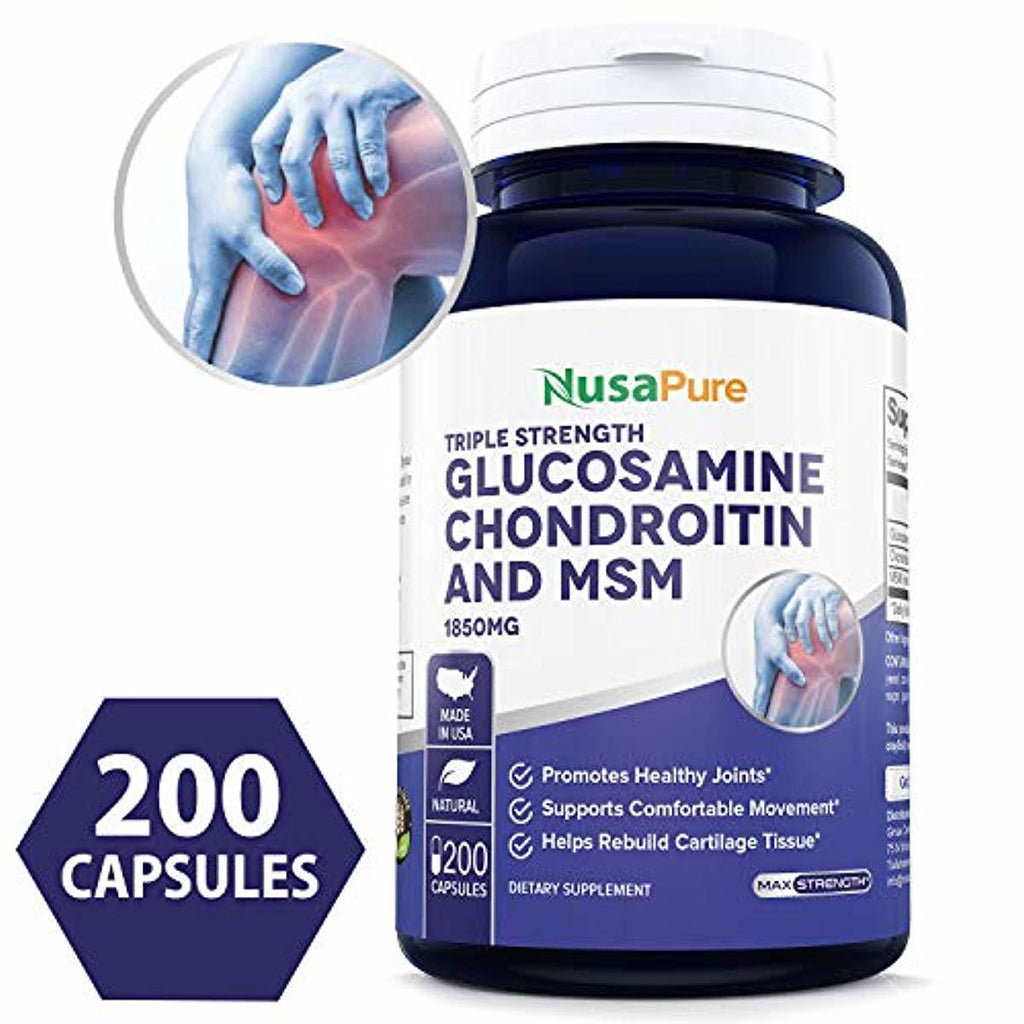 Glucosamine Chondroitin MSM 1850mg 200 caps (Non-GMO & Gluten Free) Joint Pain Relief Supplement Pills - Anti-Inflammatory for Your Back, Knees, Hip and Hands