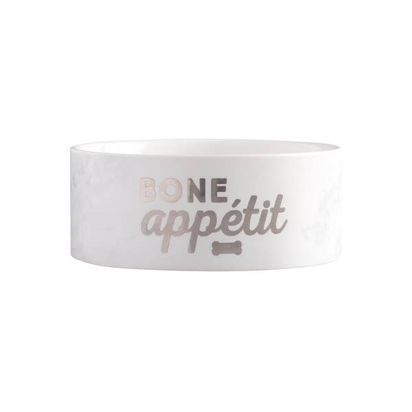 Pearhead Marble Pet Food Bowl, Bone Appetit