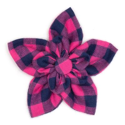 The Worthy Dog Pink/Navy Buffalo Check Flower