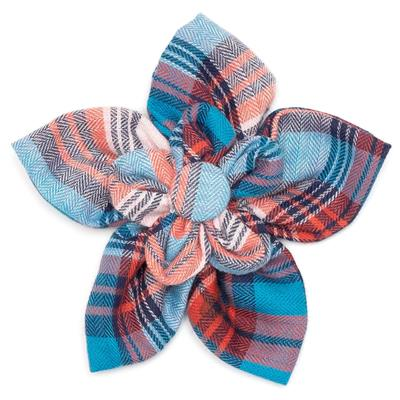 The Worthy Dog Cornflower Blue/Red Plaid Flower