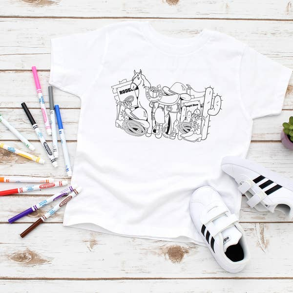 Squishy Faces Kid's Horse Coloring T-Shirt