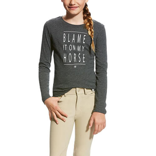Ariat Girl's Excuses Tee- Graphite Heather
