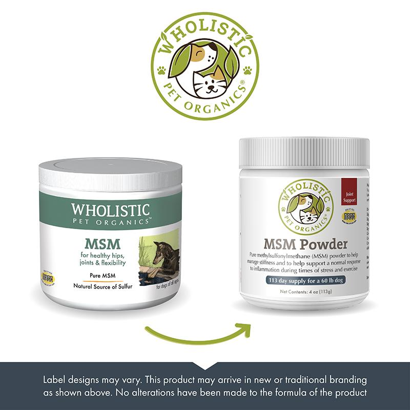 Wholistic Pet Organics MSM old to new