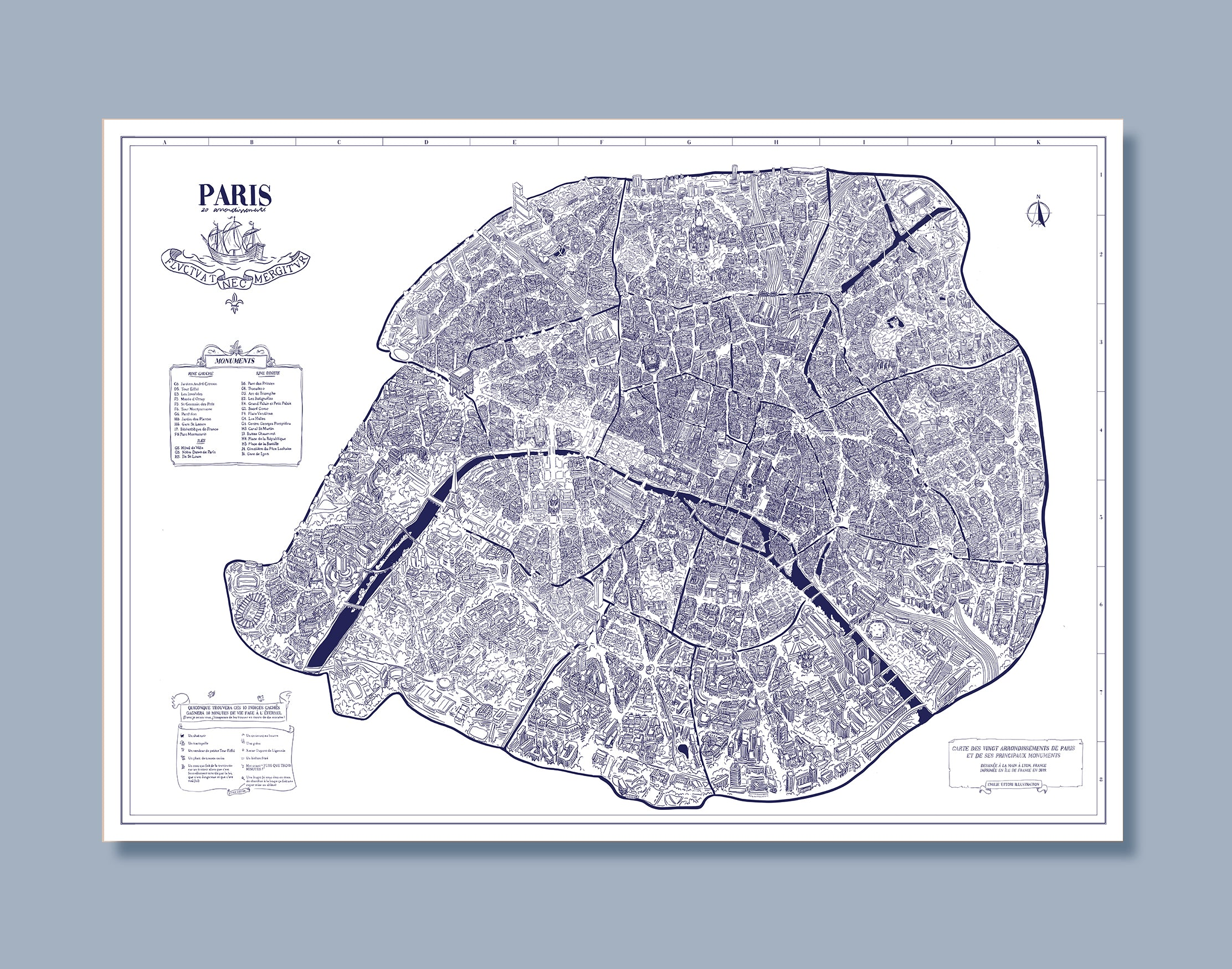 PROMO !  Grand poster des 20 arrondissements de Paris