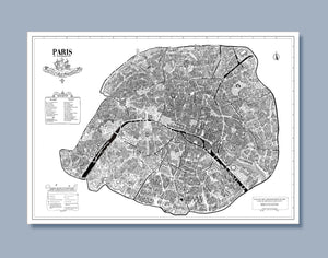 Grand poster des 20 arrondissements de Paris