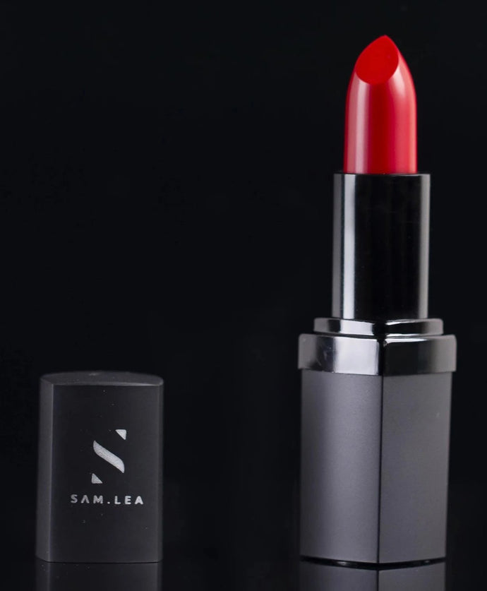 fuschia-based, red shade lipstick