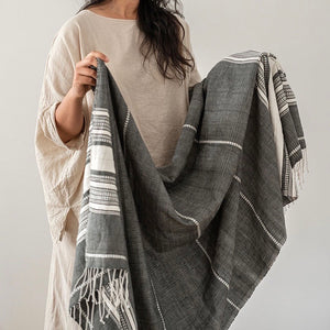 Once Was Lost - Hand Loomed Throw in Charcoal