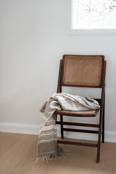 Once Was Lost - Hand Loomed Throw in Stone