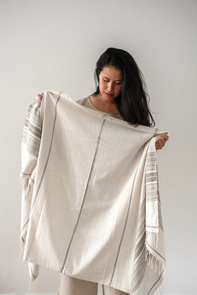 Once Was Lost - Hand Loomed Throw in Stone and White
