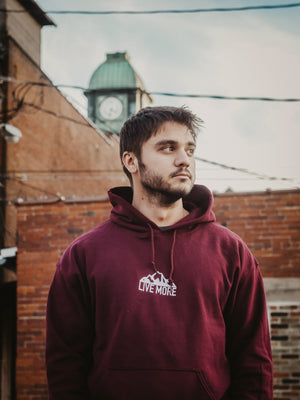 Embroidered Live More Mountain Unisex Hoodie - Live More