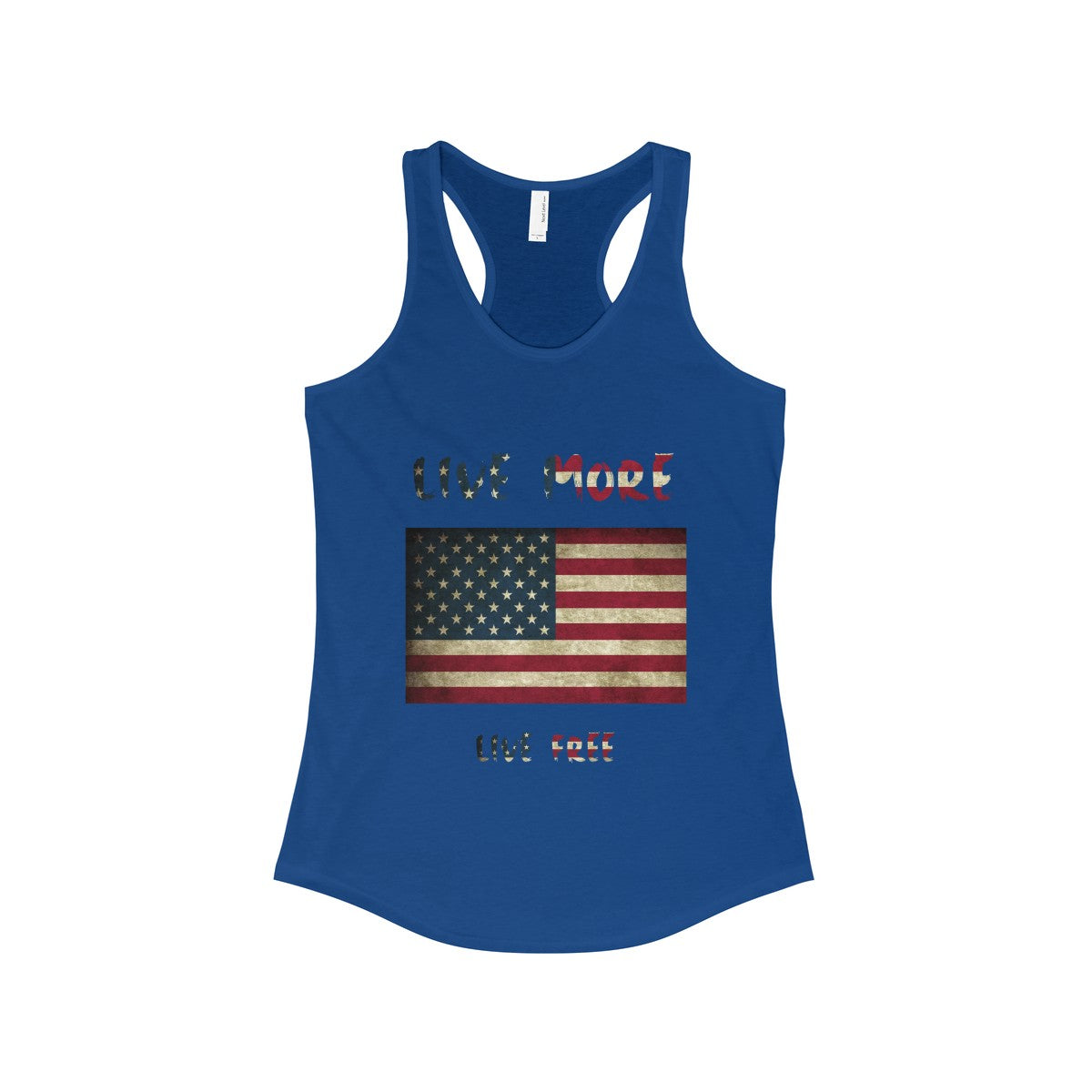 Live More Live Free American Flag Women's Racerback Tank - Live More