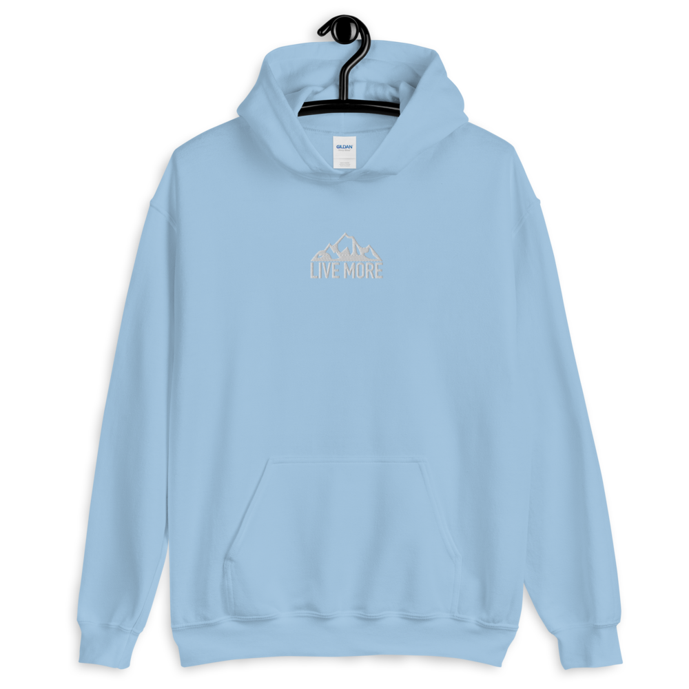 Embroidered Live More Mountain Unisex Hoodie