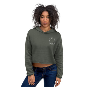 Embroidered Live More Palms & Planes Crop Hoodie - Live More