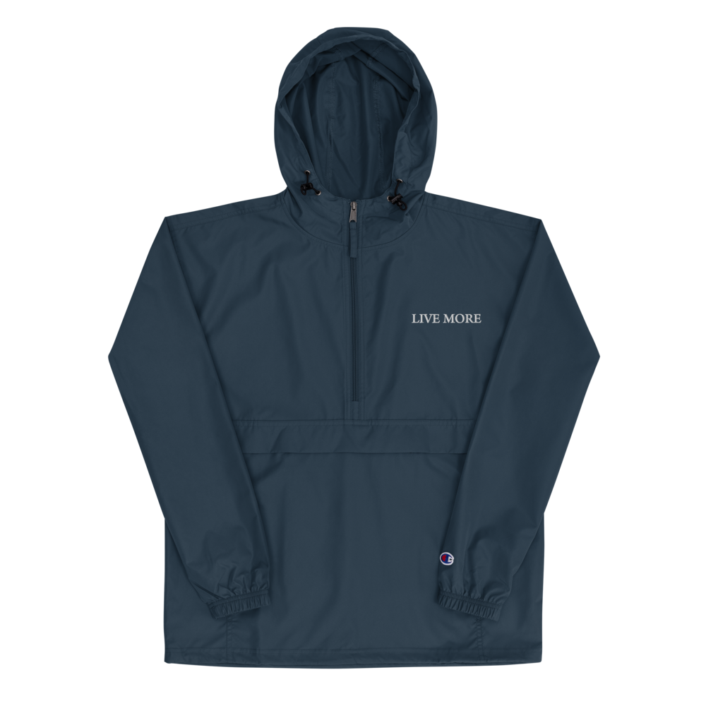 Live More Embroidered Champion Packable Jacket