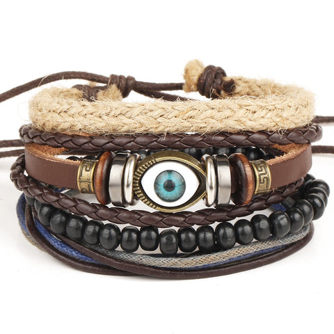 Turkish Leather Evil Eye Bracelet