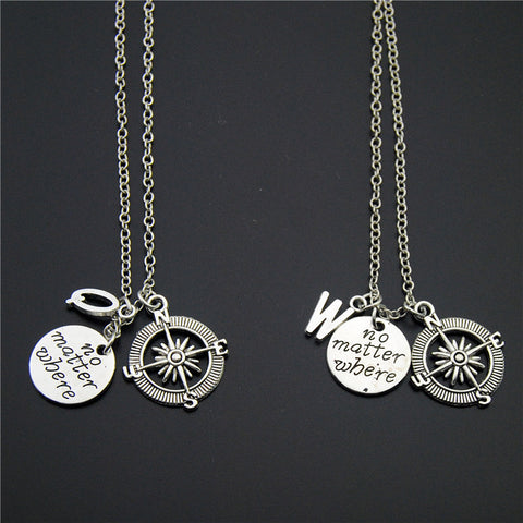 No Matter Where Travelers Compass Necklace