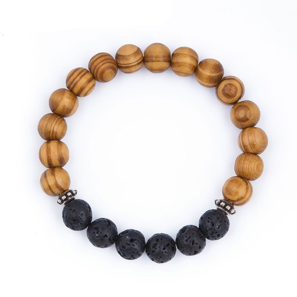 Stone Lava Wood Beaded Healing Bracelet - Live More