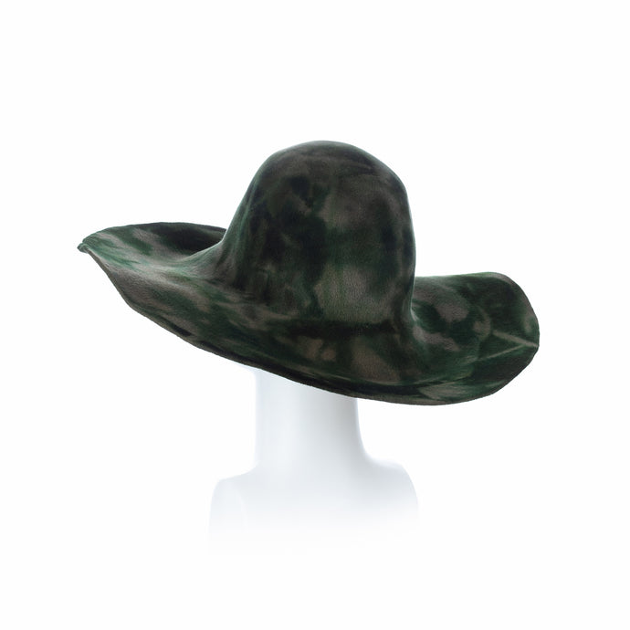 Millinery Supplies UK Military Green and Bottle Velour Peachbloom Capeline