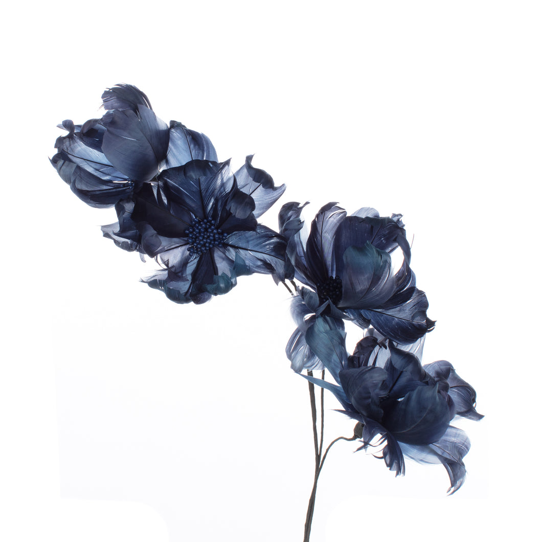 Millinery Supplies UK French Blue Magnolia Feather Flower