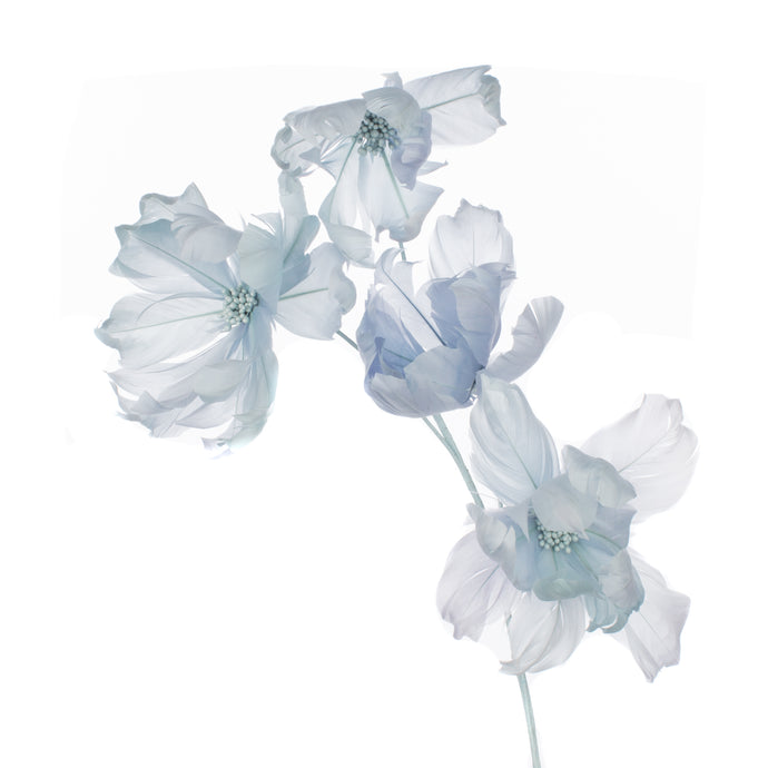Millinery Supplies UK Ice Blue Magnolia Feather Flower